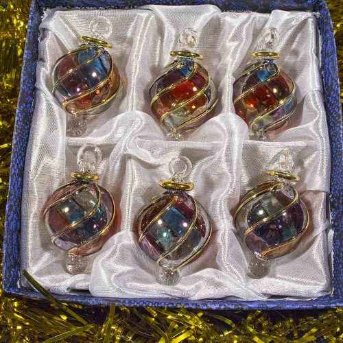 Quot blown glass egyptian christmas ornaments set of