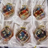 "1.6 "" Blown Glass Egyptian Christmas Ornaments - Set of 6 Ornaments"