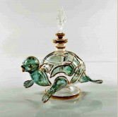 Turtle Glass Decorative Perfume Bottle- Green
