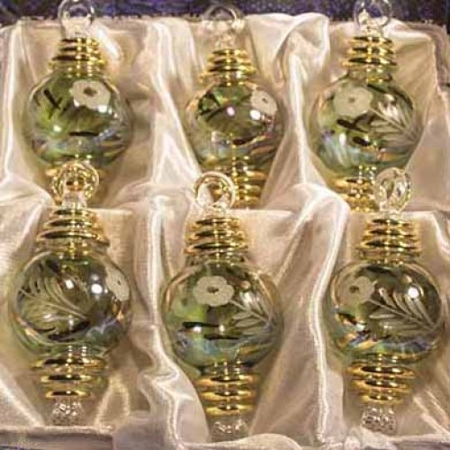 "1.6"" Blown Glass Egyptian Christmas Ornaments - Set of 6 ..."
