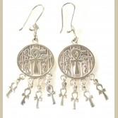 Large Silver Ankh Earring