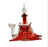 Sitting Camel Glass Decorative Perfume Bottle- Red