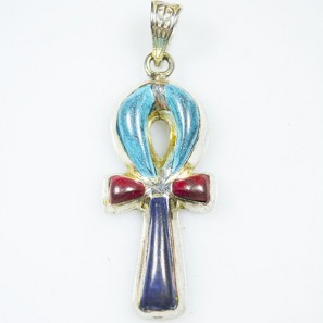 Ankh- Key of Life Silver Pendant with Blue , Red Natural Stone