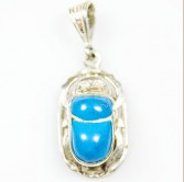 Silver Scarab Pendant with Natural Blue Stone
