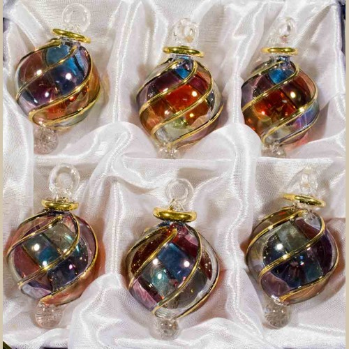 1 6 Blown Glass Egyptian Christmas Ornaments Set Of 6 Ornaments