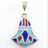 Silver Lotus Flower Pendant with Blue & Red Stones